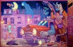 Mural no bar Embora por Xoana Almar e Miguel Peralta, de Cestola na Cachola