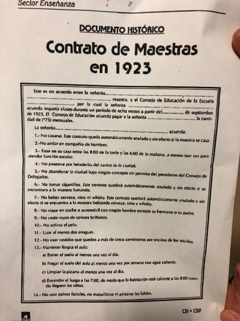 Condicións do Contrato de Mestras que todas as mulleres debían asinar para exercer a docencia nos anos 20